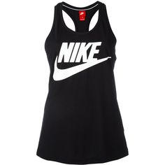 Nike - logo print tank - women - Polyester/Modal - L ($29) ❤ liked on Polyvore featuring tops, black, scoopneck tank, scoop neck tank, modal top, nike tank tops and scoop neck tank top