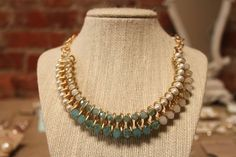 Teal and Cream Bib Necklace · Cotton Belles Boutique · Online Store Powered by Storenvy