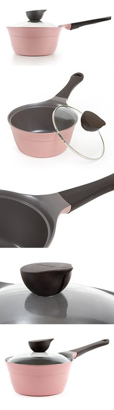 Neoflam Eela Covered Saucepan with Glass Lid, Steam Releasing Knob and Bakelite Handle, 1.5-Quart, Pink