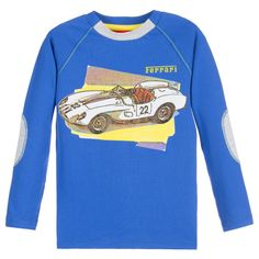 Boys bright blue long sleeved top by<span>Ferrari made from a soft cotton jersey with grey elbow patches and trim. It has yellow contrast stitching with a colourful classic car print on the front.<br /></span> <ul> <li>95% cotton, 5% elastane (soft jersey feel)</li> <li>Machine wash (30*C)</li> <li>True to size fitting</li> </ul>