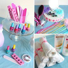 SpaParty Beauty Bar: pouf, emory boards, toe separators, nail polish, hair extensions, brushes, lip balm