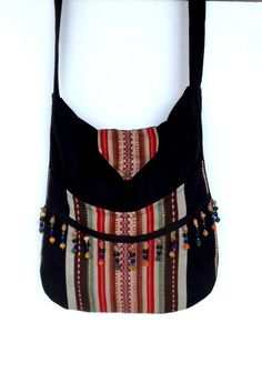 Indie Ethnic Messenger Bag Bead Fringe Bohemian Black large bag Beaded bag…