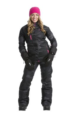 Craze Camo full suit with the Craze Mittens and pink knit beanie!