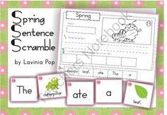 Sentence Scramble with Cut and Paste Worksheets - Spring from LaviniaPop on TeachersNotebook.com -  (59 pages)  - This unit is best suited for children in Kindergarten (Prep) and Grade 1. However, I have included 2 versions for the cut and paste worksheets, so that you can use the contents with children in Pre-k and Grade 2.