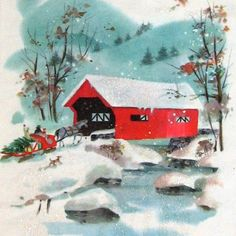 A6 Vintage Christmas Card & Envelope  Glitter by LastCentury, $3.50