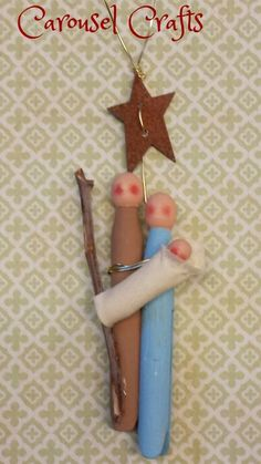 Cute Christmas ornament made with clothes pins. Wood Nativity craft by Carousel Crafts.