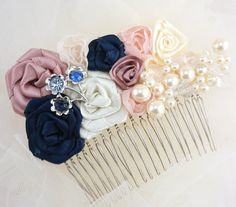 Bridal Hair Comb Fascinator in Blush Pink Navy Blue by SolBijou, $115.00