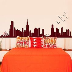 Cityscape Decal CHICAGO ILLINOIS Skyline Wall Decal Vinyl Football - Custom vinyl stickers chicago