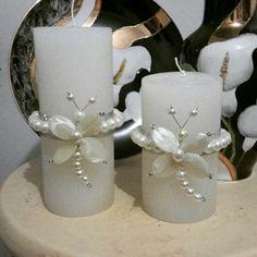 Velas com detalhes em Borboletas de Madrepérolas