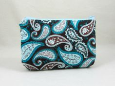 Paisley cotton zipper pouch, cotton case, womens zipper pouch, cosmetic case, bag accessory, by JRsbags on Etsy
