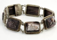 Antique 1860 Victorian Sterling 800 Silver Carved Abalone Chariot Cameo Bracelet in Jewelry & Watches, Vintage & Antique Jewelry, Fine, Retro, Vintage 1930s-1980s, Bracelets | eBay
