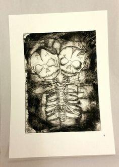 'Dead Gemini' Experimental prints 1 of 3 A4 Drypoint print