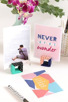 DIY cut-out square clay photo holders