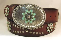 Womens Ariat Snowflake Brown Leather Rhinestone Belt