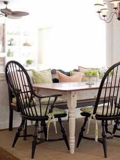 This Country Dining Setting Features A Farmhouse Table With Black Windsor Chairs And Bench To Give The Space More Causal Feel Green White Pattern