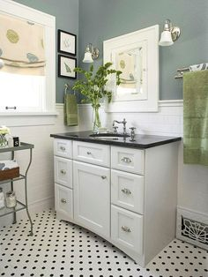 (Old bath renov 2) Against a backdrop of subway tile, a new white vanity was topped with black granite and outfitted with vintage-inspired hardware. Painted walls and accessories provide the room's color, which can easily and affordably be changed to give the room a refreshed look in the future.