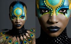 Blk make turq Tribal Makeup, Exotic Makeup, Extreme Makeup, Fantasy Make Up, Make Up Art, Maquillage Halloween, Crazy Makeup, Creative Makeup, Costume Makeup