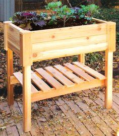 Solid Cedar Outdoor Planter Box w Storage Shelf