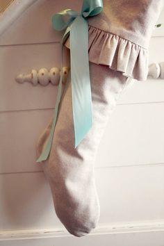 Christmas Stocking, Raw cotton, ivory, classic, robin egg blue ribbon. $65.00, via Etsy.