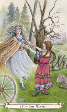 The Hermit - The Fairy Tale Tarot by Lisa Hunt The Hermit Tarot, Tarot Rider Waite, The Magician Tarot, Online Tarot, Tarot Card Meanings, Lisa, Major Arcana, Oracle Cards, Tarot Decks