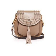Chloé Beige Leather Small Hudson Bag ($1,645) ❤ liked on Polyvore featuring bags, handbags, shoulder bags, beige, woven-leather handbags, chloe handbags, beige leather purse, studded leather purse and beige shoulder bag