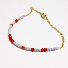 Red Coral Bracelet Red and Lavender Jewelry by jewelrybycarmal, $30.00