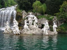 """Reggia di Caserta - Italy The Fountain of Diana and Actaeon in the garden of the Palace of Caserta, composed by two marble groups, tells the story of Diana and Actaeon myth. One day, while hunting in a gentle wooded valley sacred to the godess, Actaeon stumbled upon her while she was bathing in a stream with her handmaidens. Intoxicated by Diana's beauty, he hid himself in order to spy on her. But she caught sight of him and, true to her name as """"the bloodthirsty goddess"""", took h..."""