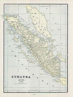 SUMATRA authentic 1891 original Antique Map INDONESIA genuine 124 years old