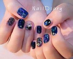 네일다이어리 (@naildiary0) • Instagram photos and videos Gem Nails, Diamond Nails, Bling Nails, Swag Nails, Korean Nail Art, Korean Nails, Korean Art, Almond Acrylic Nails, Best Acrylic Nails