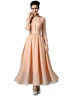 Women's Vintage/Party/Maxi Micro-elastic Long Sleeve Maxi Dress (Chiffon) – USD $ 29.99