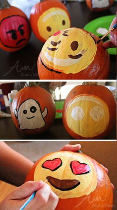 Emoji Pumpkins for Halloween by Brenda Ponnay