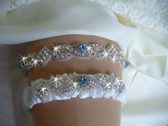 Regular or Queen Size Garter Set, Bridal Garter Belts, Birthstone Wedding Garter, Rhinestone Wedding Garder, Something Blue Wedding Garter by bridalambrosia on Etsy