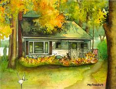 Watercolor Cottage Portrait  Custom portrait by maryfrancessmith as seen on The Walking Dead
