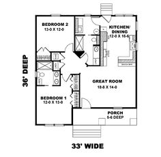 Guest House Cottage Style House Plans - 1073 Square Foot Home, 1 Story, 2 Bedroom and 2 3 Bath, 0 Garage Stalls by Monster House Plans - Plan Cottage Style House Plans, Cottage House Plans, Small House Plans, Cottage Homes, House Floor Plans, Small Floor Plans, The Plan, How To Plan, Br House