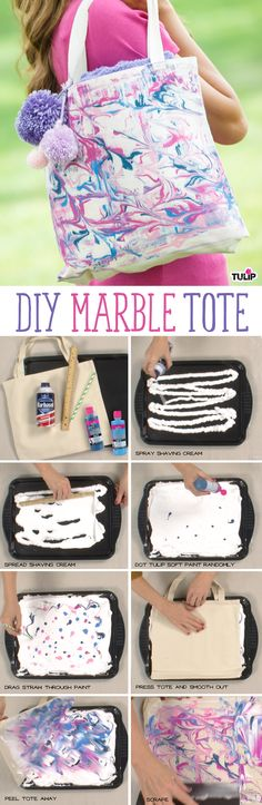 Make this marbleized tote with Tulip Soft Fabric Paint and shaving cream!  So cool for creating your own custom fabrics!!!
