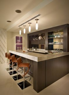 Decorating your ideal home bar design. Consider yourself lucky if you've got your own home bar - it's a perfect […] Best Modern House Design, Home Interior Design, Modern Home Bar, Kitchen Design, Contemporary House, Bars For Home, Counter Design, Bar Countertops, Home Bar Designs