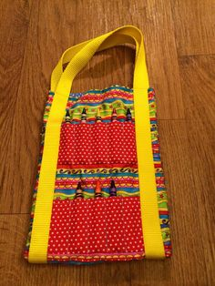 Fun Colorful Yellow Children's Crayon Holder Coloring Bag Tote on Etsy, $7.50