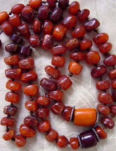 Antique Naga natural amber beads necklace. India / Myanmar / Burma.