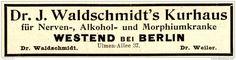 Original-Werbung/Anzeige 1898 - DR.WALDSCHMIDT'S KURHAUS / WESTEND BEI BERLIN…