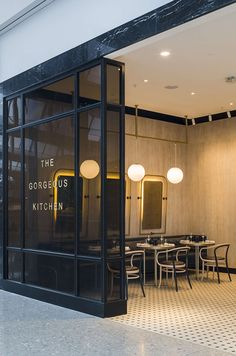 Facade metal window frame --- Escape the rush of Heathrow's Terminal 2 and check in to The Gorgeous Kitchen. Retail Interior, Restaurant Interior Design, Bar Design, Store Design, Bar Counter Design, Design Ideas, Design Inspiration, Design Concepts, Room Inspiration