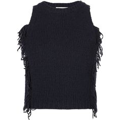 3.1 Phillip Lim knitted tank top ($545) ❤ liked on Polyvore featuring tops, blue, sleeveless tank tops, ribbed crop top, ribbed tank, crop top and sleeveless tops
