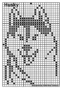 filet chart husky wolf dog canine Crochet Chart, Filet Crochet, Crochet Doilies, Knitting Charts, Knitting Stitches, Knitting Patterns, Loom Patterns, Beading Patterns, Cross Stitch Designs