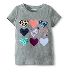 Girls'  Embroidered Hearts Tee