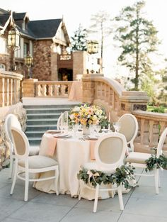 Peach and garland is so classic: http://www.stylemepretty.com/colorado-weddings/denver/2014/11/25/elegant-and-ethereal-inspiration-shoot-at-highlands-ranch-mansion/ | Photography: Sara Hasstedt - http://www.sarahasstedt.com/