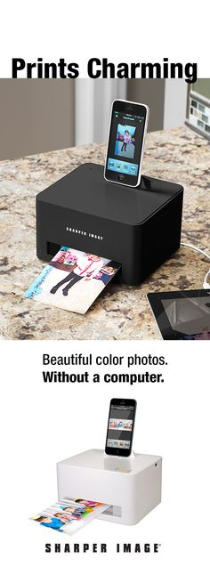 Get your favorite photos off of your smartphone... and onto high-quality paper with the Smartphone Photo Cube Printer!  Available in white or new exclusive black color - shop Sharper Image now!
