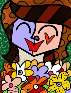 Romero Britto  Note features on face.