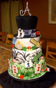 ALICE IN WONDERLAND SWEET 16 BIRTHDAY CAKE  www.facebook.com/SweetInspirations2012.