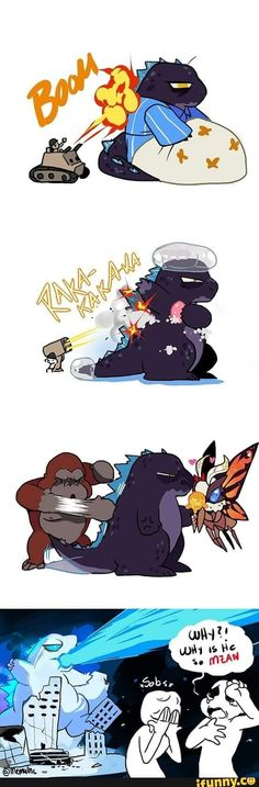 All Godzilla Monsters, Godzilla Comics, Cute Comics, Funny Comics, Godzilla Wallpaper, Funny Pictures Can't Stop Laughing, Funny Comic Strips, Anime Furry, Crazy Funny Memes