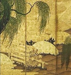 Uji Bridge and Willows Momoyama period Ink, color, and gold on paper. Pair of Japanese folding screens. Japanese Prints, Japanese Art, Folding Screens, Japanese Screen, Japanese Painting, Painted Doors, Ink Color, Asian Art, Vintage World Maps