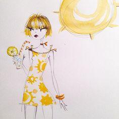 Lots-o-lemonade day by Anne Keenan Higgins Art And Illustration, Illustrations, Watercolor Illustration, Watercolor Art, Girl Sketch, Art Challenge, Art Sketchbook, Doodle Art, Cute Drawings